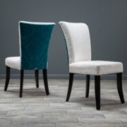 Monroe Ivory and Teal Fabric Dining Chairs (Set of 2)
