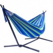 Sorbus Double Hammock with Steel Stand Two Person Adjustable Hammock Bed - Storage Carrying Case Included  Blue/Green