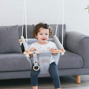 HAPPY PIE PLAY&ADVENTURE Secure Canvas Hanging Swing Seat Indoor Outdoor Hammock Toy for Toddler  Grey
