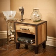 Glendora Industrial Solid Wood Single Drawer End Table Nightstand