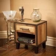 Glendora Industrial Solid Wood Single Drawer End Table Nightstand