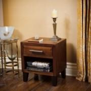 Glendora Brown Mahogany Solid Wood Single Drawer End Table Nightstand