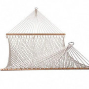 Lazy Daze Hammocks Cotton Rope Double Hammock with Wood Spreader, Chains and Hooks, for Two Person, 450 Pounds Capacity, Natu