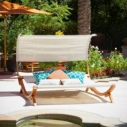 Rosalie Outdoor Patio Chaise Lounge Sunbed and Canopy