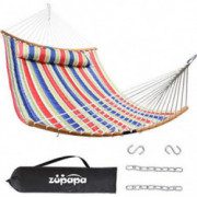 Zupapa Quilted 2 Person Hammock Curved Bamboo Spreader Bars, Heavy-Duty Double Hammock Swing, Folding Portable Large Hammocks