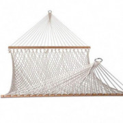 Lykos Wood Pole Cotton Rope Hammock Bed Net with Rope White