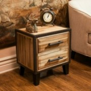 Glendora Natural Stain Solid Wood Two Drawer Nightstand