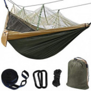 Hammock Camping Single & Double with Mosquito/Bug Net and Tree Straps & Carabiners | Easy Assembly |Lightweight Portable Para