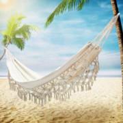 TMcom Hammock, Handmade Organic Cotton Classic Hammock Macrame Fringe Tree Hammocks Swing Bed for Camping,Beach,Bedroom, Pati