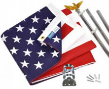 Annin Flagmakers Model  11325 American Flag and Flagpole Set - 6 ft. 3 Section Aluminum Pole with US Flag 3x5 ft, U.S. Flag K
