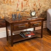 Glendora Brown Mahogany Solid Wood Two Drawer Console Table
