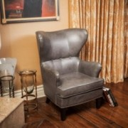Romford Grey Leather Wingback Club Chair