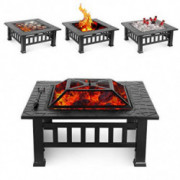 HEMBOR 32 Outdoor Fire Pit Table, Multi-Purpose Square Fireplace, Backyard Patio Garden Outside Wood Burning Heater, BBQ, I