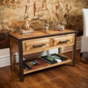 Glendora Natural Stain Solid Wood Two Drawer Console Table