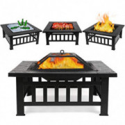 "FIXKIT Fire Pit Table Outdoor with BBQ Grill Shelf, Multifunctional Garden Terrace Fire Bowl Heater/BBQ/Ice Pit, 32"" Diameter"