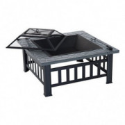 "Outsunny 32"" Steel Square Outdoor Patio Wood Burning Fire Pit Table Top Set"