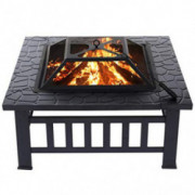 KINGSO 34 Outdoor Fire Pit Metal Square Firepit Patio Stove Wood Burning BBQ Grill Fire Pit Bowl with Spark Screen Cover, L