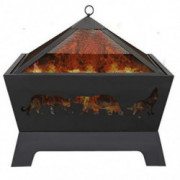 LEMY 26 Inch Outdoor Metal Stove Fire Pit - Backyard Patio Capming Wood Burning Fireplace, Geometric Shaped Steel Fire Pit w/