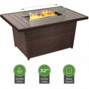 Best Choice Products 52in Outdoor Wicker Propane Fire Pit Table 50,000 BTU w/Glass Wind Guard, Tank Holder, Cover-Brown