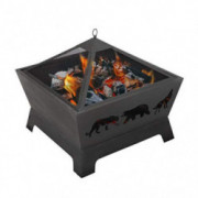 ZENY 26 inch Fire Pit Fire Bowl Outdoor Patio Wood Burning Fireplace Firepit with Cover, Poker,Steel