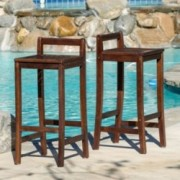 Catrina Mahogany Stained Wood Bar Stools (Set of 2)