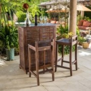 Catrina 3pc Mahogany Stained Wood Bar Stool Bar Set