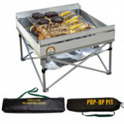 Pop-Up Fire Pit | Portable Outdoor Fire Pit and BBQ Grill | Packs Down Smaller than a Tent | Two Carrying Bags Included | Lar
