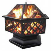 Yaheetech Hexagon Fire Pit Fireplace Portable Firepit Iron Brazier Wood Burning Coal Pit Hex Shaped Fire Bowl Stove with Spar