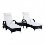 Outsunny 3 Piece Rattan Wicker Adjustable Chaise Lounge Chair with Wheels for Easy Moving & Padded Cushions, Black