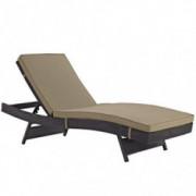Modway Convene Wicker Rattan Outdoor Patio Chaise Lounge Chair in Espresso Mocha