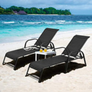 Tangkula 2 Pcs Outdoor Patio Lounge Chaise,  Set of 2  Adjustable Folding Reclining Lounge Chairs, 5-Position Backrest Adjust