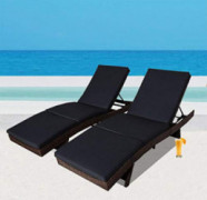 Outdoor Patio Synthetic Backyard Poolside Garden Black Rattan Wicker Chaise Lounge Chair Cushioned Set Adjustable with Armres