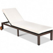Tangkula Patio Chaise Lounge Chair, Outdoor Rattan Lounger Recliner Chair with Wheels, Wicker Chaise Chair with Cushioned Sea
