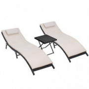Homall 3 Pieces Patio Chaise Lounge Chair Sets Outdoor Beach Pool PE Rattan Reclining Chair with Folding Table and Cushion  B