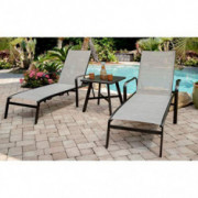 Hanover FOXCHS2PC-GRY Foxhill 2-Piece All-Weather Grade Aluminum Chaise Lounge Chair Set Commercial Outdoor Furniture, Gray/G