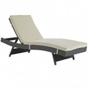 Modway Sojourn Wicker Rattan Outdoor Patio Sunbrella Fabric Chaise Lounge in Antique Canvas Beige