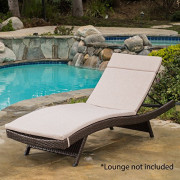 Christopher Knight Home Salem Outdoor Water Resistant Chaise Lounge Cushion, Textured Beige