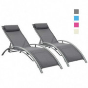 Outdoor Patio 2-Pack Lounge Chairs Adjustable Aluminum Chaise Lounges for All Weather Grey