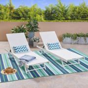 Christopher Knight Home Salton Outdoor Aluminum and Mesh Chaise Lounge Set, 2-Pcs Set, White / White