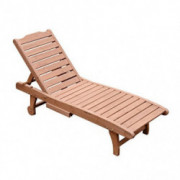 Outsunny Reclining Outdoor Wooden Chaise Lounge Patio Pool Chair with Pull-Out Tray