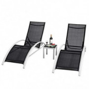 Safstar Patio Chaise Lounge Set Outdoor 3-Piece Furniture, Backyard Poolside Chairs for All Weather