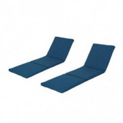 Christopher Knight Home Jamaica Outdoor Water Resistant Chaise Lounge Cushion  Blue/Set of 2
