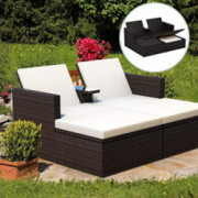 Tangkula 3 Pieces Wicker Chaise, with Storage Ottoman, Outdoor Poolside Garden Adjustable Sun Lounge Bed with Table and Cushi