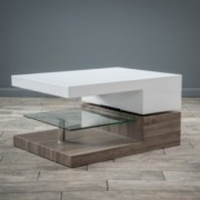Emerson Rectangular Mod Swivel Coffee Table w/ Glass