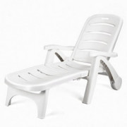 Giantex Folding Lounger Chaise Chair on Wheels Outdoor Patio Deck Chair Adjustable Rolling Lounger 5 Position Recliner w/Armr