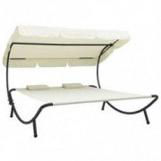 Unfade Memory Patio Double Chaise Lounge Sun Bed with Canopy and Pillows, Outdoor Daybed Reclining Chair  Cream White