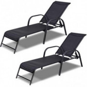 Giantex 2 Pcs Outdoor Patio Chaise, Adjustable Lounge Chairs Patio Furniture, Backyard Lawn Sling Chaise w/Adjustable Back, B