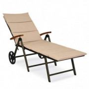 Tangkula Outdoor Chaise Lounge Chair, Aluminum Rattan Lounger Recliner Chair W/Wheels, Folding Wicker Chaise Chair W/Cushione