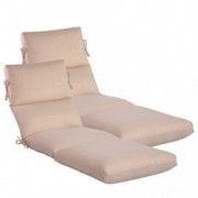 "Comfort Classics Inc. Set of 2 Outdoor Channeled Chaise Cushion 22W x 72L x 4.5H Hinge at 26"" in Olefin Fabric Oatmeal"
