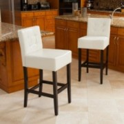 Gregory Ivory Leather Back Bar Stool (Set of 2)
